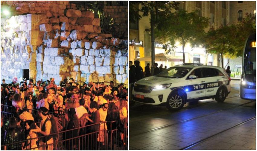 ניידת משטרה במרכז העיר, מסיבת פורים במגדל דוד (צילומים: דוברות המשטרה, ריקי רחמן)