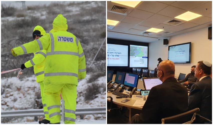 """היערכות ראש העיר בחמ""""ל העירוני היום לקראת השלג, צוות משטרה בסופת שלג (צילומים: דוברות עיריית ירושלים, דוברות המשטרה)"""