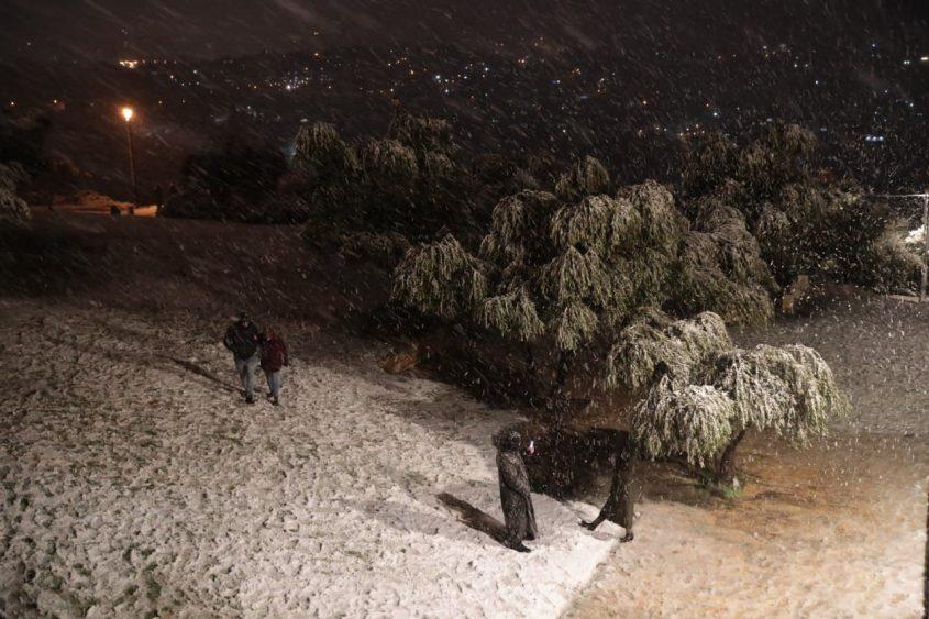 טיילת ארמון הנציב בשלג (צילום: יוסי זמיר)