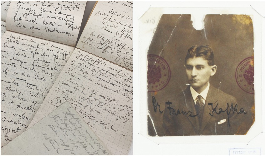 דיוקנו של פרנץ קפאקא, חלק מכתביו (צילומים: באדיבות הספרייה הלאומית)