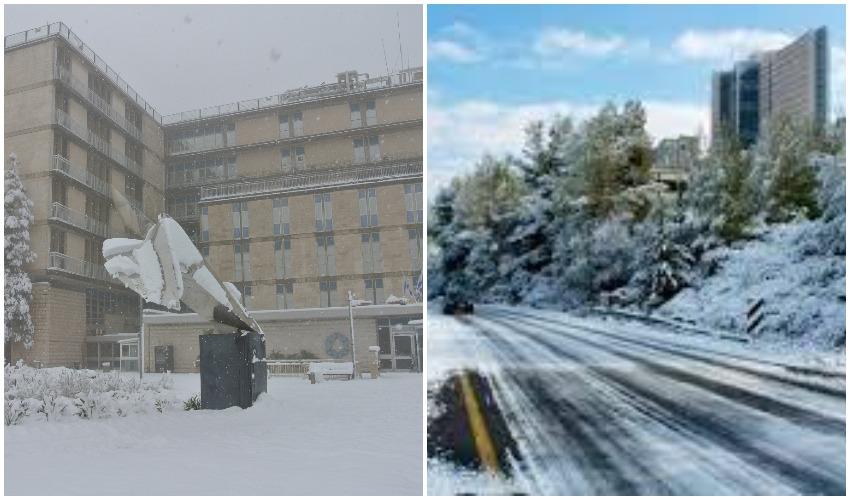 הדסה עין כרם בשלג 2015, שערי צדק בשלג 2013 (צילומים: דוברות הדסה, דוברות שערי צדק)