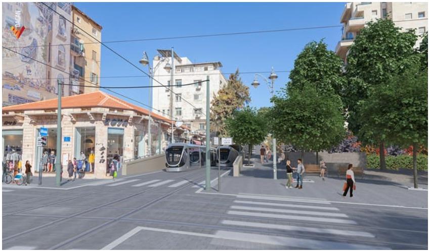 הקו הכחול של הרכבת הקלה ברחוב שטראוס (הדמיה: צוות תכנית אב לתחבורה)