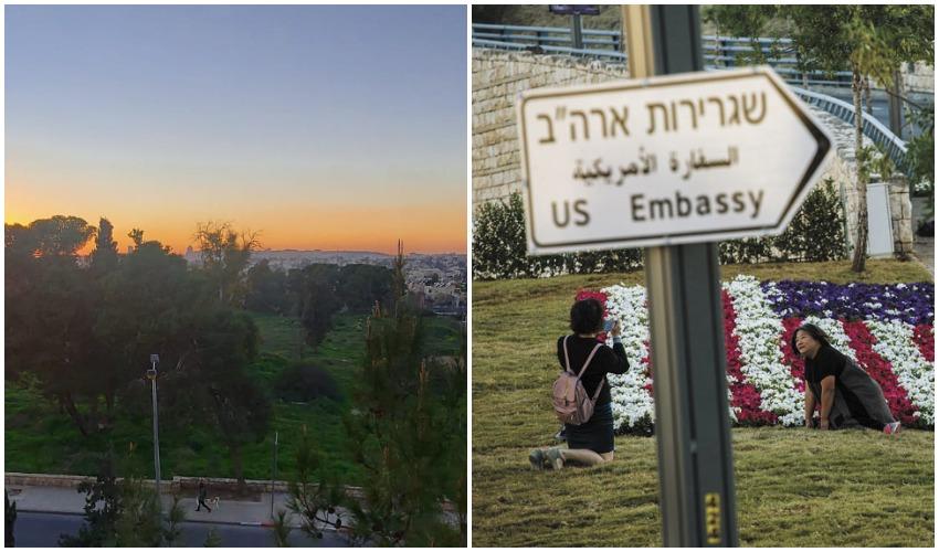 """שלט שגרירות ארה""""ב, השטח שבו מתוכנן להיבנות אחד המתחמים של השגרירות (צילומים: אוליבייה פיטוסי, יפעת ראובן)"""