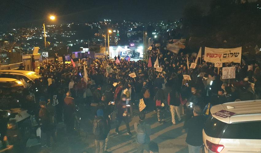 ההפגנה בסילואן (צילום: שלום עכשיו)