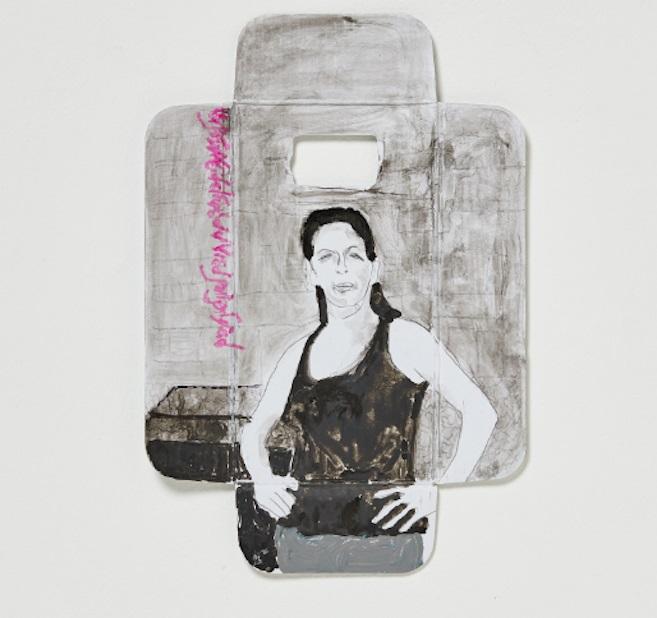 חנה יגר בעקבות אילה סבג, צבעי מים וטוש על קרטון (צילום עבודה: סיגל קולט)