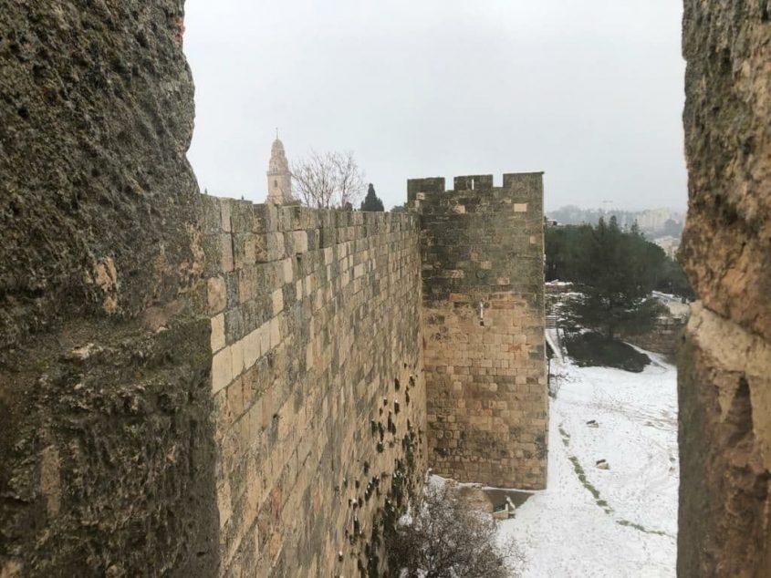 העיר העתיקה בירושלים - שלג בירושלים 2021 (צילום: החברה לפיתוח מזרח ירושלים)