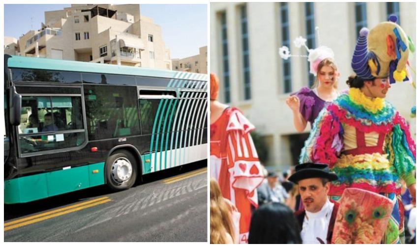 פורים בירושלים ב-2018, אוטובוס (צילומים: אביעד וייצמן, מיכל פתאל)