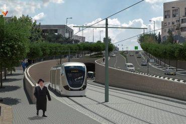 הקו הכחול של הרכבת הקלה בכביש גולדה מאיר (הדמיה: צוות תכנית אב לתחבורה)