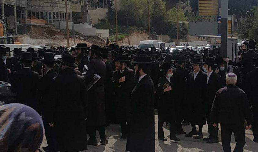 הפגנת החרדים בבר אילן (צילום: מוטי פרץ)
