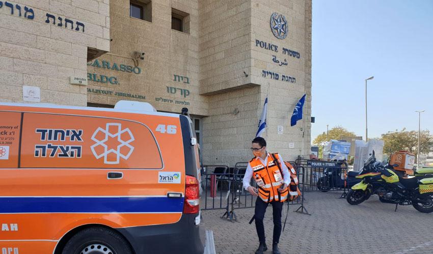 תחנת מוריה - סמוך למקום שבו ניסה להתאבד העציר (צילום: אגף מדיה איחוד הצלה)