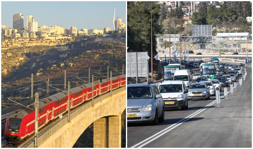 פקקים בכביש 1, רכבת ירושלים-תל אביב (צילומים: אורן בן-חקון, רכבת ישראל)