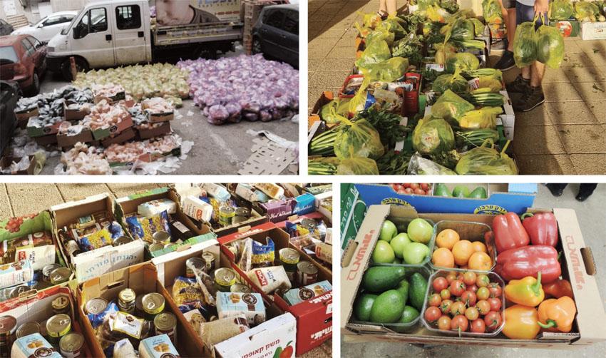 סלי מזון (צילומים: עמותת שכן טוב, עמותת תכלית)