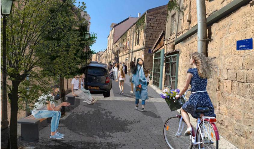 רחוב שומרון - הדמיית רחוב משולב, נחלאות (הדמיה: ארד סימון אדריכלים)