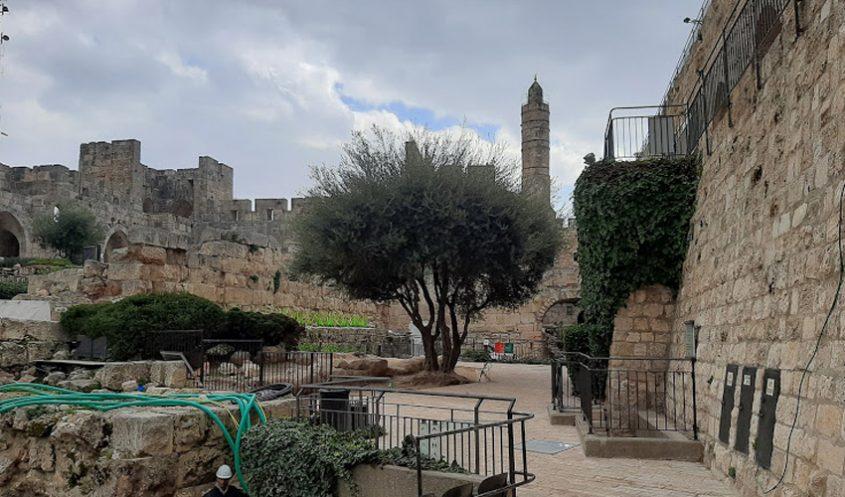 העבודות בחצר הפנימית במגדל דוד (צילום: אדם אקרמן)