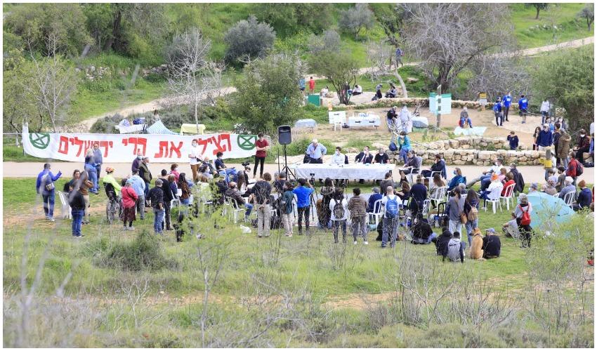 אירוע מחאה נגד תוכניות הבינוי ברכס לבן (צילום: שדולת ירושלים בת קיימא)