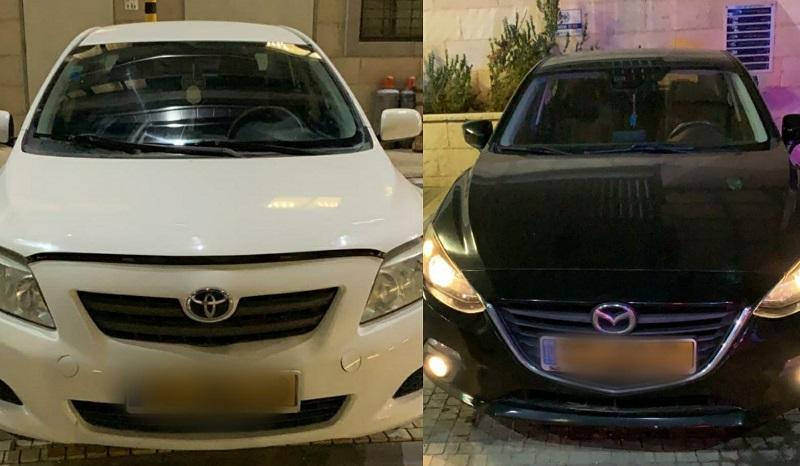 רכבים בהם נתפסו חברי החולייה (צילום: דוברות המשטרה)