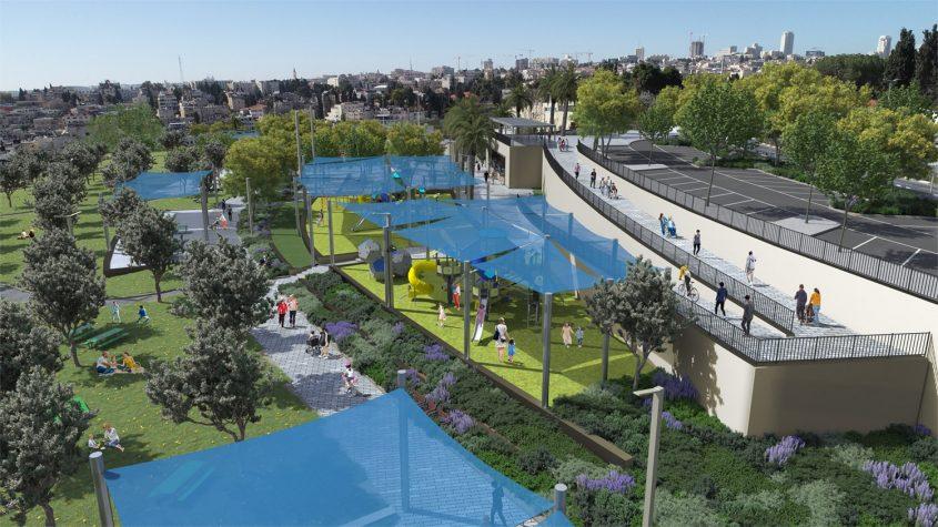 פארק ואדי ג'וז-פתחת קדרון, מזרח ירושלים (הדמיה: הרשות לפיתוח ירושלים וחברת מוריה)