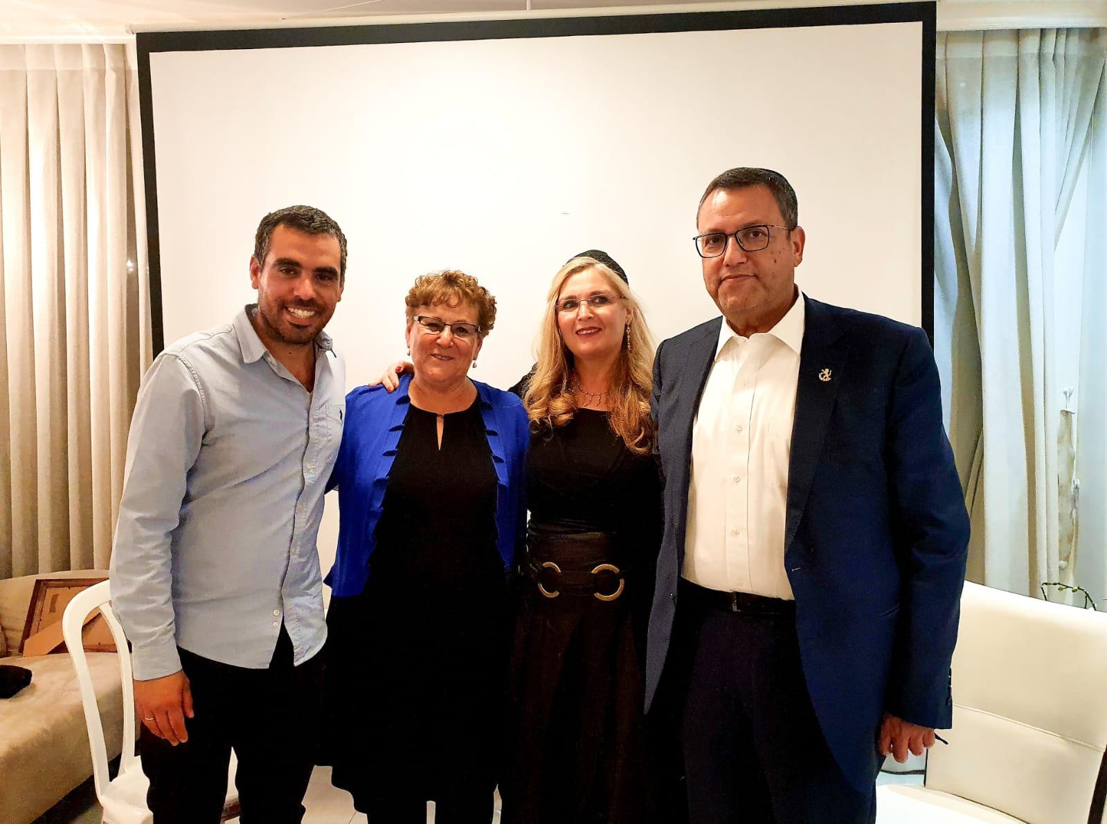 ראש העיר משה ליאון, סתוית ליאון, מרים פרץ, אליסף פרץ (צילום: דוברות העירייה)