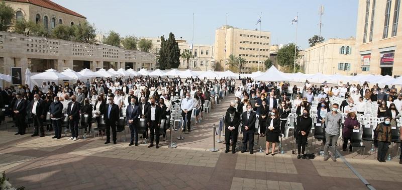 טקס יום הזיכרון לשואה ולגבורה בכיכר ספרא (צילום: ארנון בוסאני)