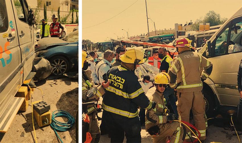 זירת התאונה הקטלנית בדרך חברון (צילומים: כבאות והצלה ירושלים)