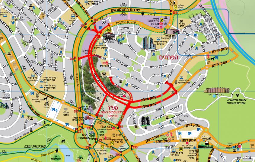 מרוץ הלילה של מודיעין - מפת חסימות הכבישים