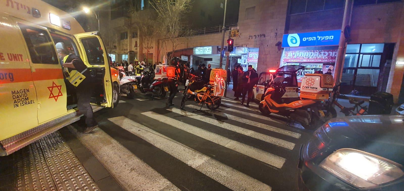 זירת התאונה ברחוב יפו בירושלים (צילום: תיעוד מבצעי איחוד הצלה)