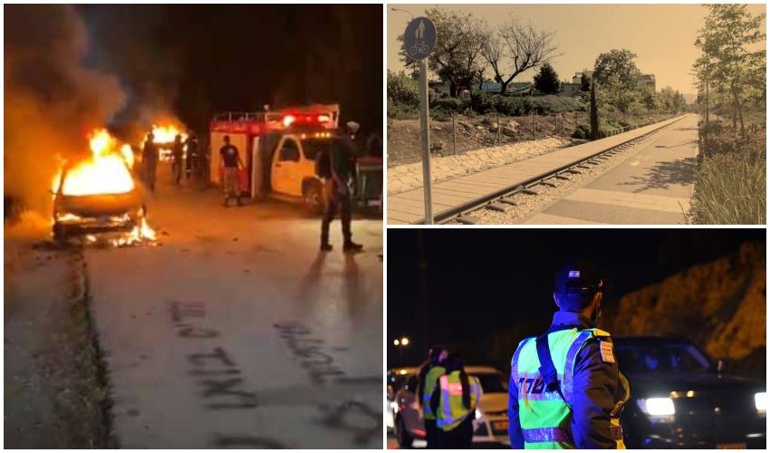 הרכבים שהוצתובבית איכסא, פארק המסילה, פעילות משטרתית (צילומים: תושבי בית איכסא ותגמאיר, אוליבייה פיטוסי, דוברות המשטרה)