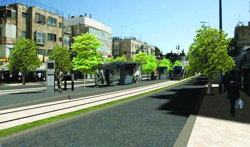 הדמיית הקו הירוק של הרכבת הקלה בצומת בר אילן (הדמיה: באדיבות צוות תוכנית אב לתחבורה ירושלים)