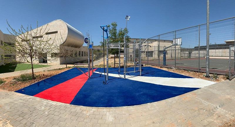 מתקן כושר ליד מגרש הכדורסל עירוני ד' (צילום: דוברות עיריית מודיעין)