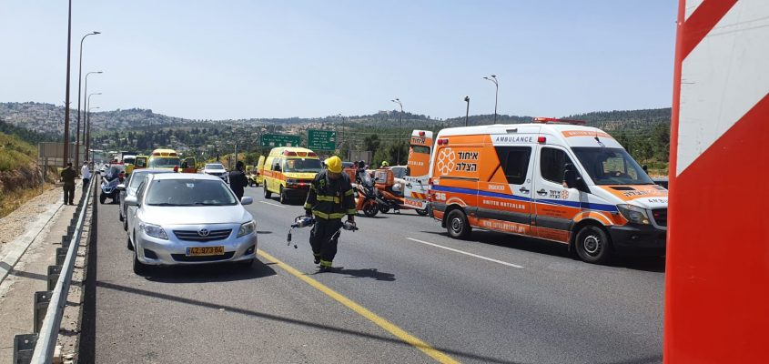 התאונה בכביש 1 (צילום: דוברות איחוד הצלה)