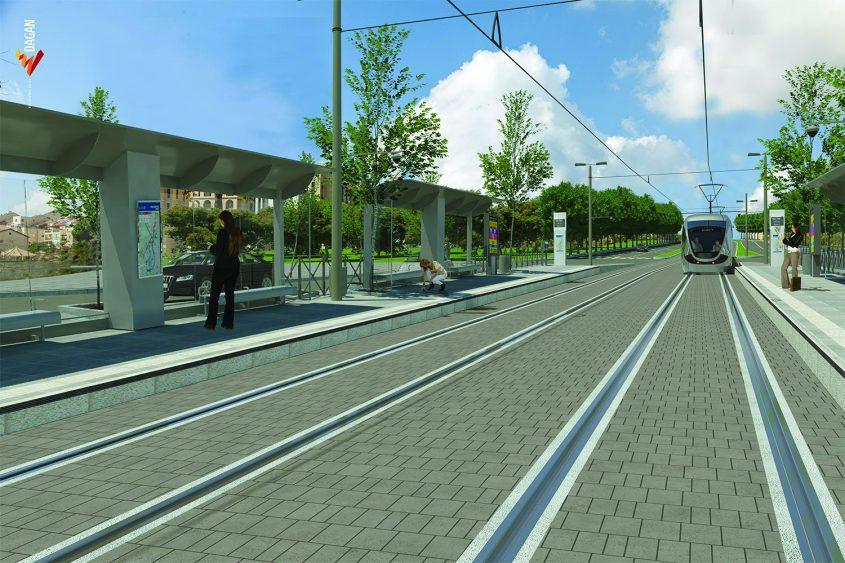 הדמיית הקו הכחול של הרכבת הקלה בצומת בר אילן (הדמיה: באדיבות צוות תוכנית אב לתחבורה ירושלים)