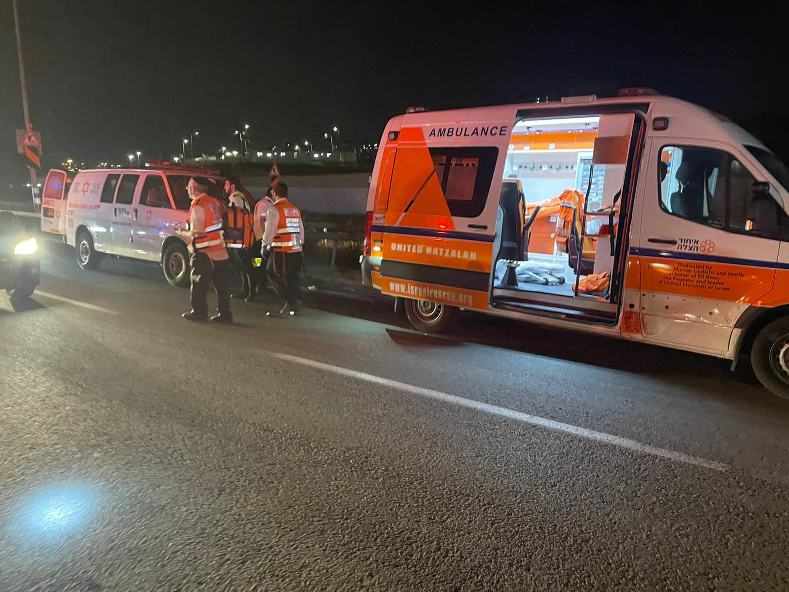 זירת התאונה בכביש 1 לכיוון מעלה אדומים (צילום: דוברות איחוד הצלה)