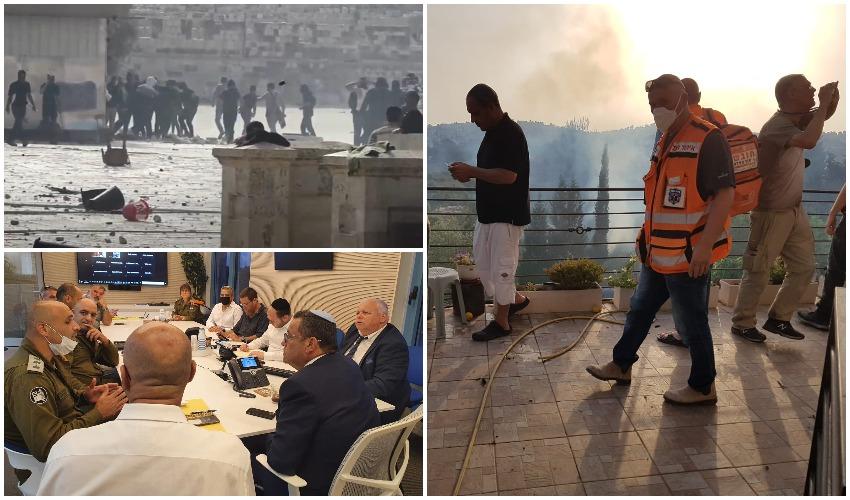 זירת הנפילה של הטיל סמוך לירושלים, הערכת המצב בעיריית ירושלים, המהומות בהר הבית (צילומים: איחוד הצלה, דוברות המשטרה, דוברות העירייה)