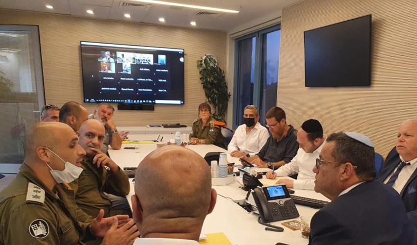 הערכת המצב הערב בעיריית ירושלים (צילום: דוברות העירייה)