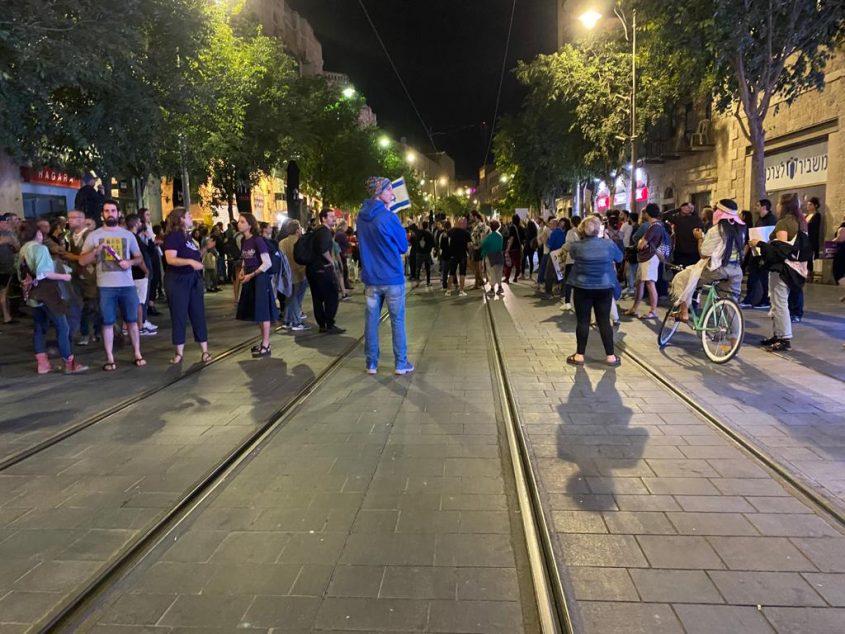 הפגנה בכיכר ציון (צילום: פפה אללו)