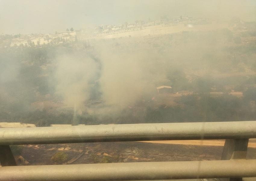 השריפה במבשרת - קיימת אבל לא מתפשטת (צילום: כבאות והצלה ירושלים)