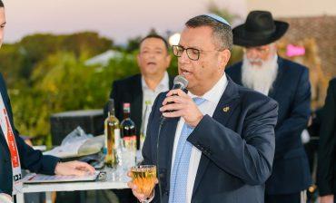 משה ליאון בחתונת אלקנה יעקובוביץ' וליאור פריילכמן (צילום: דוד שטיין)