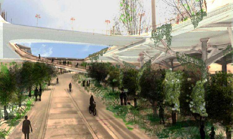 הדמיית חניון בנבנישתי, מכיוון המסילה (הדמיה: האדריכל חיים לוטנר)