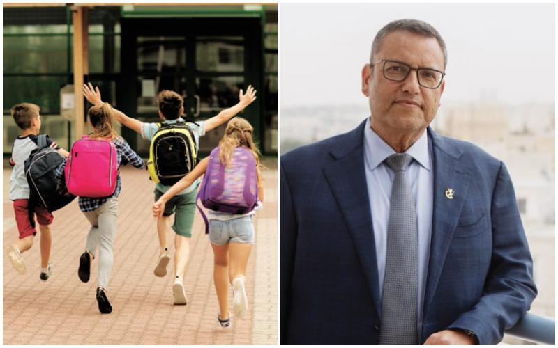 ראש העיר משה ליאון, תלמידים בדרך לבית הספר (צילומים: יובל כהן אהרונוב, א.ס.א.פ קריאייטיב INGIMAGE)