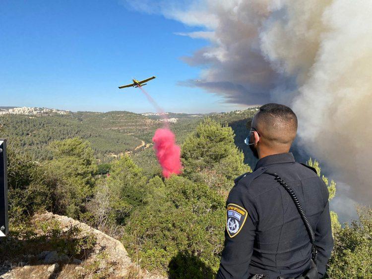 השריפה באזור שורש (צילום: דוברות המשטרה)