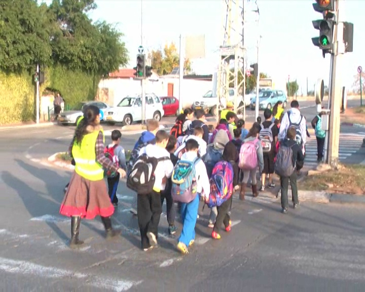 ילדים במעבר חצייה (צילום: עמותת אור ירוק)