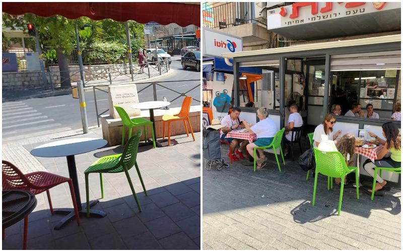 הכיסאות והשולחנות החדשים במסעדת פינתי ובפיצה מטודלה (צילומים: דוברות עיריית ירושלים)