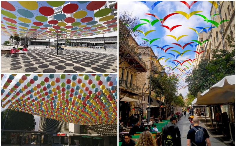 בתמונות (מימין עם כיוון השעון) מיצב הציפורים ברחוב בצלאל הקטן, מיצב הכדורים ברחוב לונץ, מיצב העיגולים בסמטת דרום (צילומים: חברת סידהארתא)