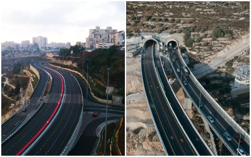 כביש 60 המחודש (מימין), מחלף סחרוב המחודש (צילומים: שיכון ובינוי SkyVideo, ארנון בוסאני)