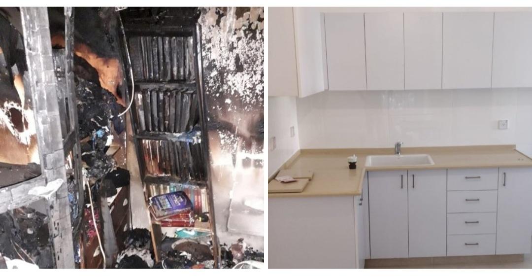 הדירה של הזוג, לפני ואחרי (צילום: מרכז שירות עמידר ירושלים)