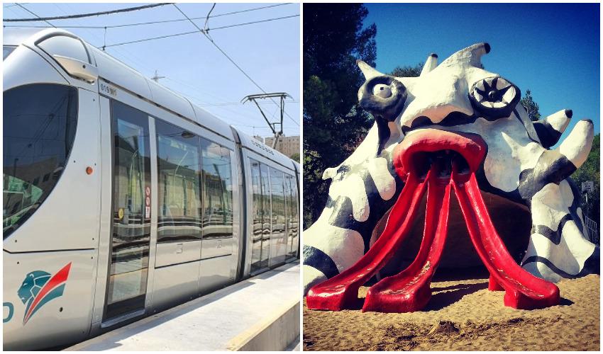 המפלצת, הרכבת הקלה (צילומים: מיכאל יעקובסון, כפיר רכבת קלה ירושלים)