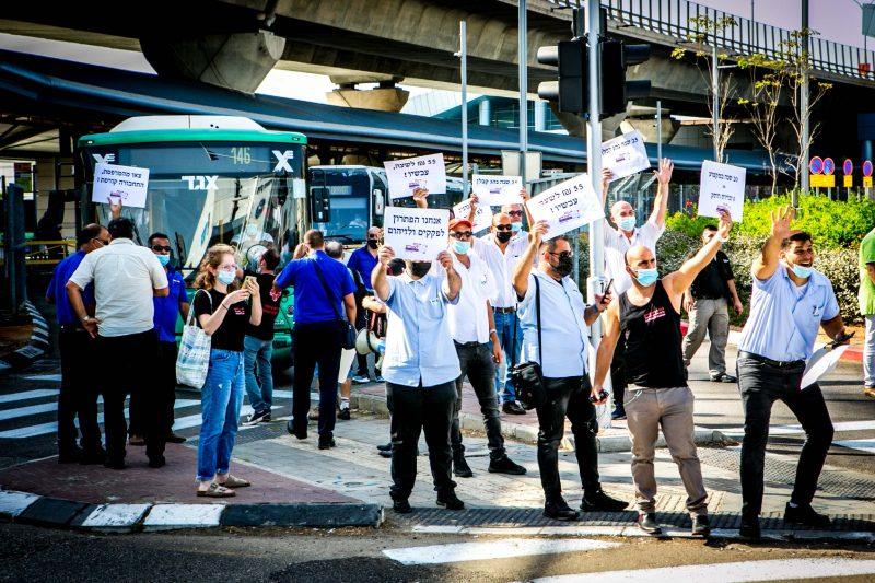 הפגנת נהגי האוטובסים בחודש שעבר (צילום: טוהר לב ג'ייקובסון)