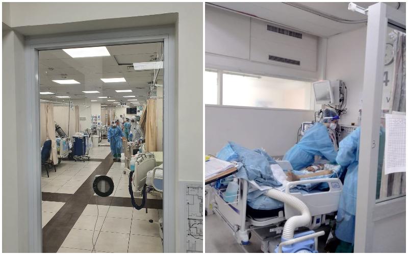 מחלקות הקורונה במרכזים הרפואיים הדסה עין כרם (מימין) ושערי צדק (צילומים: דוברות הדסה, דוברות שערי צדק) - מאושר לשימוש לרשת העיר