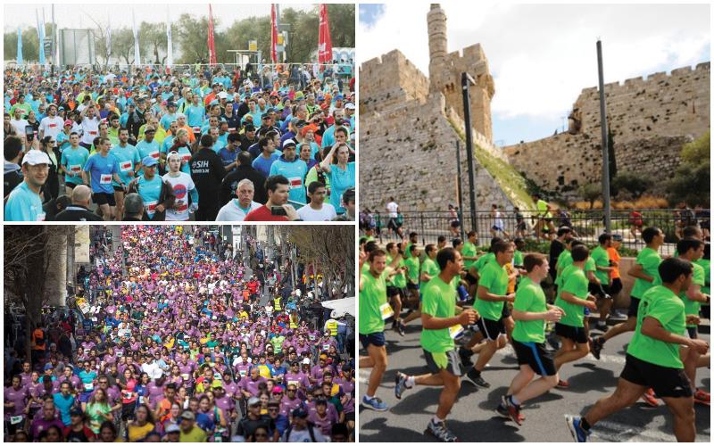 מרתון ירושלים בשנים עברו (צילומים: פלאש 90-באדיבות עיריית ירושלים)