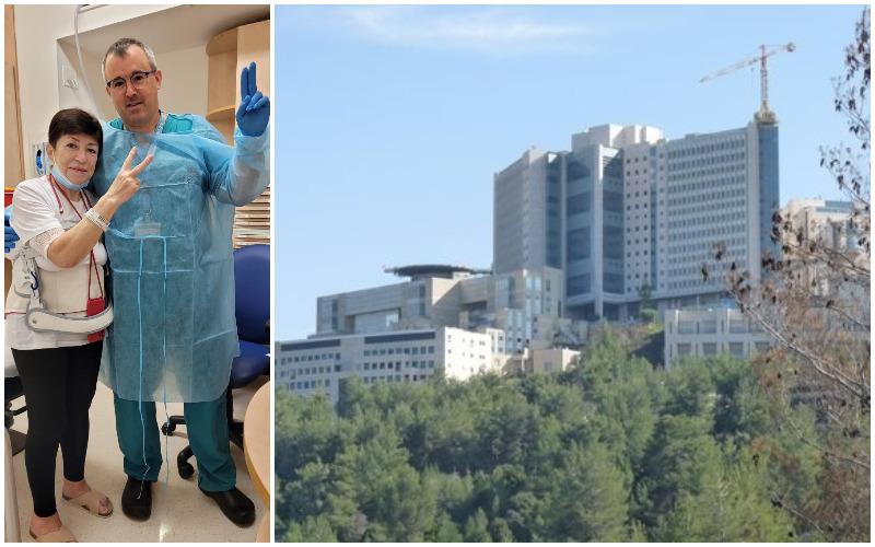 """המרכז הרפואי הדסה, ד""""ר ג'וש שרודר וליליה אלטשול (צילומים: דוברות הדסה)"""